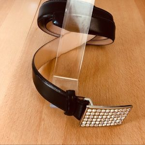 Christine Alexander Leather Belt Swarovski Crystal